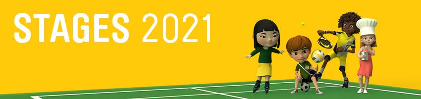 Image Stages 2021 (Jaune avec personnages en tenue de sport - roller -mutlisport-squash)
