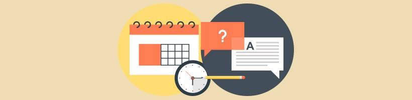 Image  avec un calendrier, une horloge et une bulle de message avec texte